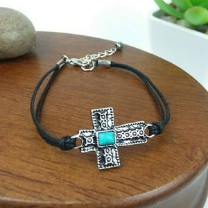 Torisque Cross Charm Cord Bracelet